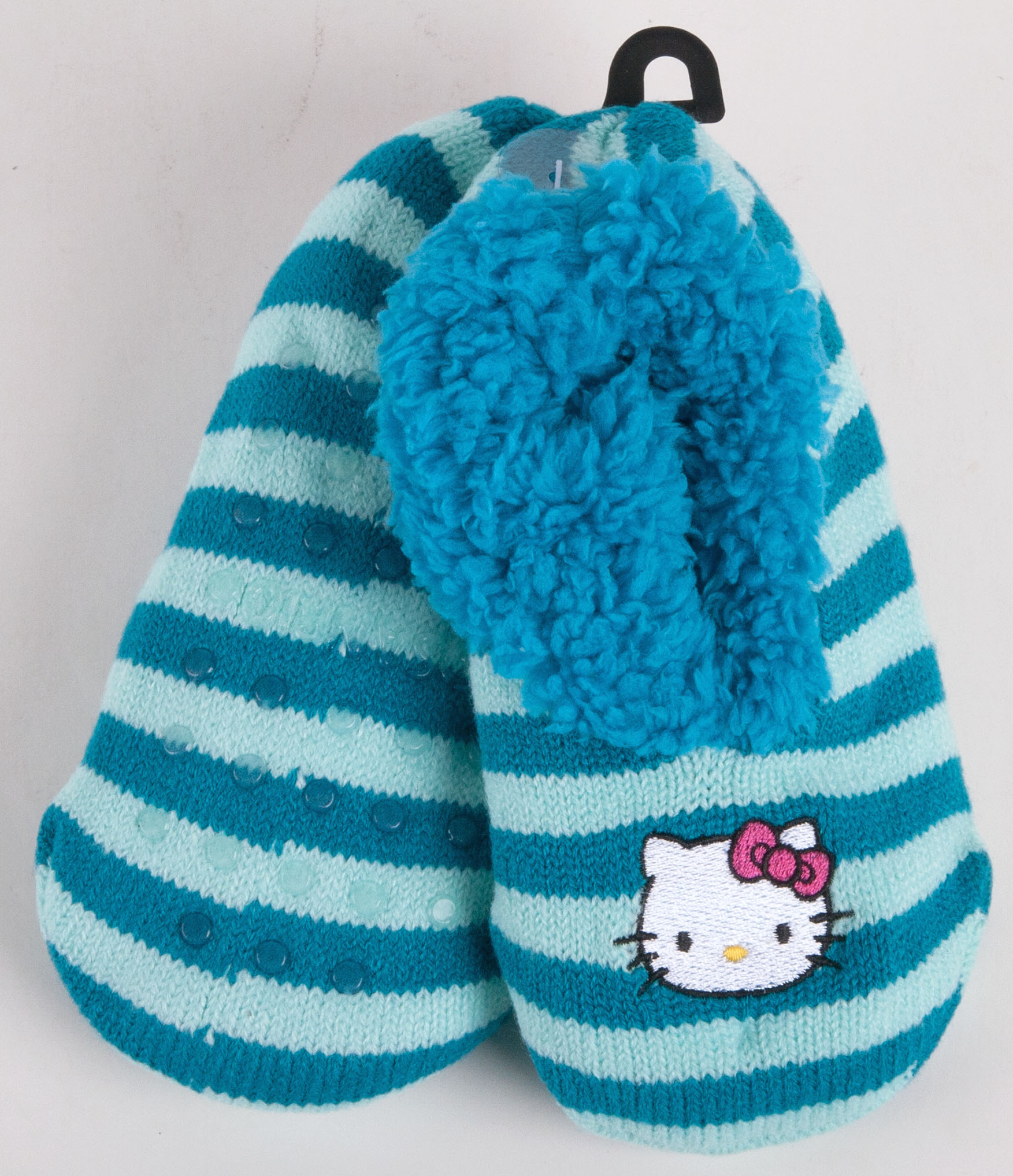 Hello Kitty Knitting Pattern Socks : Sanrio Hello Kitty Blue Knit Striped Sock Slippers Girls-4870 eBay