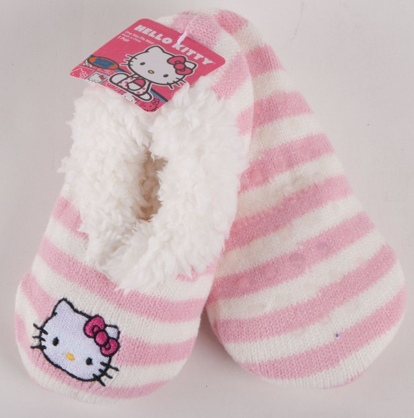 Hello Kitty Knitting Pattern Socks : Sanrio Hello Kitty White Pink Knit Striped Slippers Socks Girls 4871 eBay