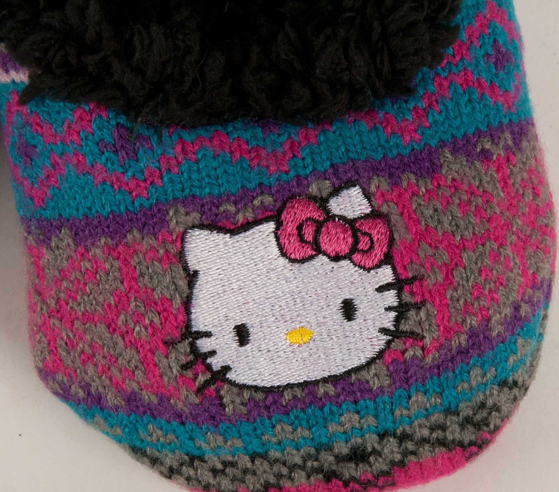 Hello Kitty Knitting Pattern Socks : Sanrio Hello Kitty Grey Knit Printed Slippers Socks Girls 4872 eBay
