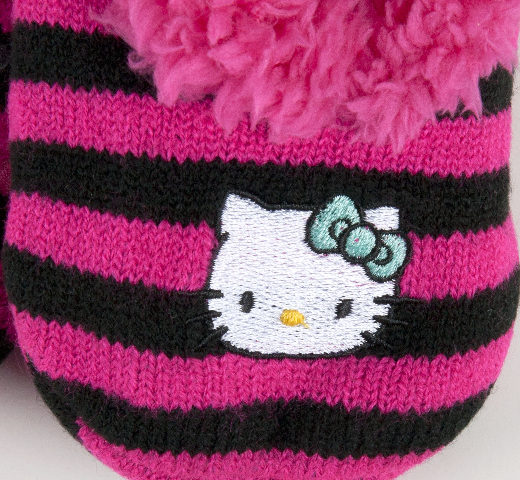 Hello Kitty Knitting Pattern Socks : Sanrio Hello Kitty Pink Black Knit Striped Slippers Socks Girls 4874 eBay