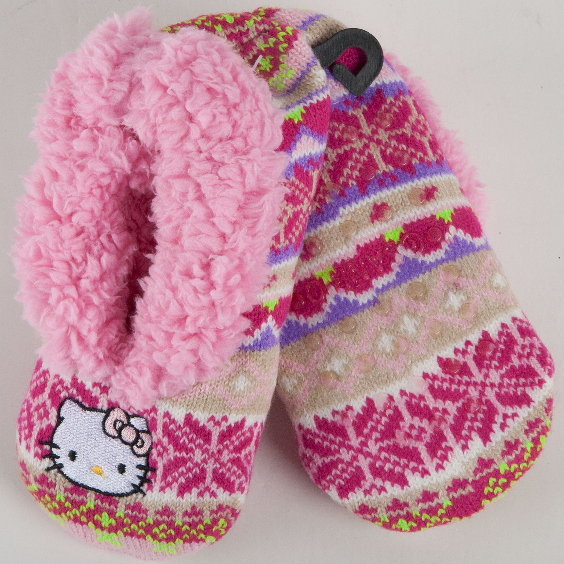 Hello Kitty Knitting Pattern Socks : Sanrio Hello Kitty Pink Knit Printed Slippers Socks Girls 4875 eBay